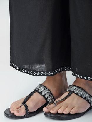 Black Elasticated Waist Aari-embroidered Cotton Palazzos