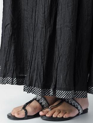 Black Tie-up Cotton Skirt
