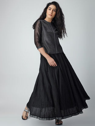 Black Quilted Chanderi Top with Zari