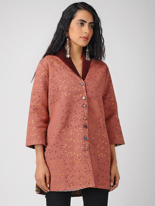 Rust Block-printed Cotton Jacket with Sequin Work