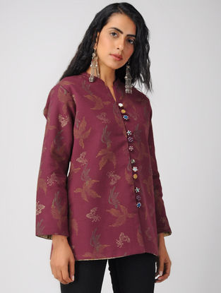 Wine Block-printed Cotton Jacket with Sequin Work