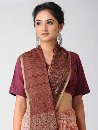 Maroon-Ivory Block-printed and Ombre-dyed Cotton Saree with Khari Border