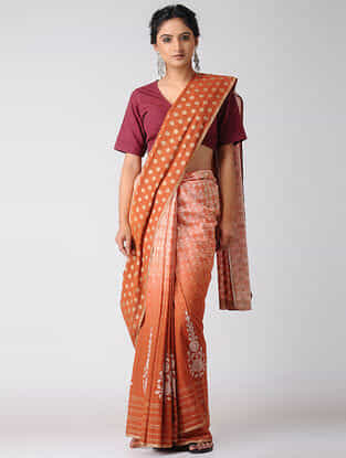Orange-Ivory Khari-printed and Ombre-dyed Cotton Saree