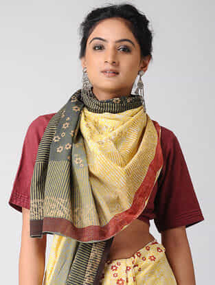 Yellow-Black Block-printed and Ombre-dyed Cotton Saree with Khari Border