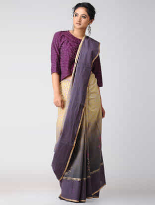 Yellow-Purple Block-printed and Ombre-dyed Cotton Saree with Khari Border
