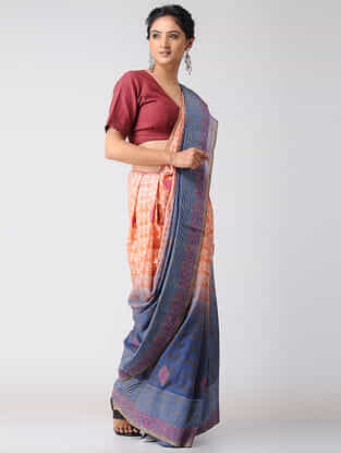 Orange-Blue Block-printed and Ombre-dyed Cotton Saree with Khari Border