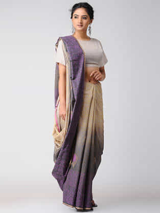 Beige-Purple Block-printed and Ombre-dyed Cotton Saree with Khari Border