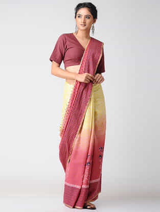Yellow-Pink Block-printed and Ombre-dyed Cotton Saree with Khari Border