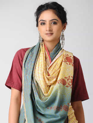 Yellow-Blue Block-printed and Ombre-dyed Cotton Saree with Khari Border