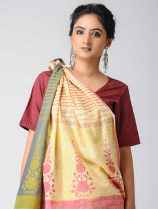 Yellow-Grey Block-printed and Ombre-dyed Cotton Saree
