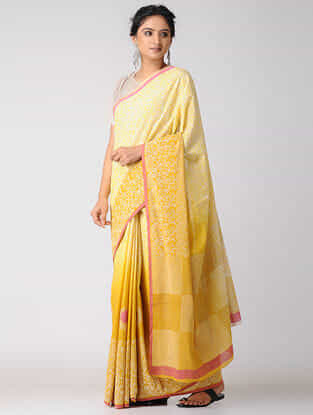 Yellow-Pink Block-printed and Ombre-Dyed Cotton Saree