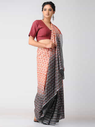 Orange-Black Block-printed and Ombre-Dyed Cotton Saree