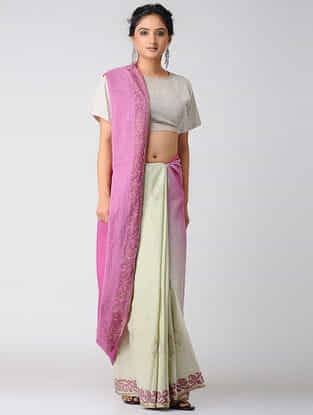 Pink-Ivory Block-printed and Ombre-Dyed Cotton Saree