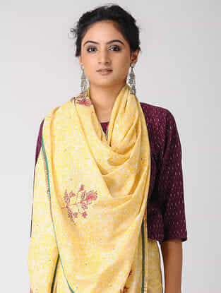 Yellow-Red Block-printed and Embroidered Cotton Saree with Gold Varak