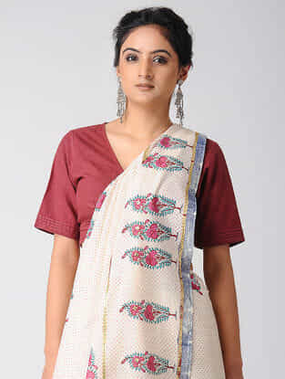 Ivory-Pink Block-printed and Embroidered Cotton Saree with Gold Varak