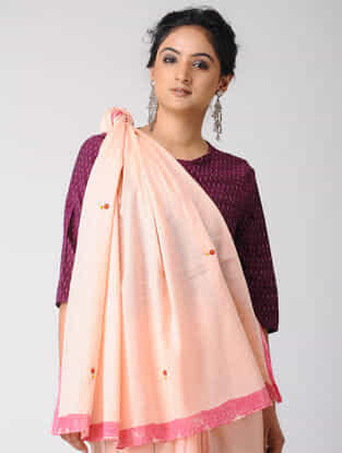 Peach-Pink Ombre-Dyed Cotton Saree