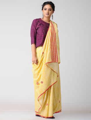 Yellow-Pink Block-printed Cotton Saree with Bead-work