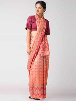 Orange-Pink Block-printed Ombre-Dyed Cotton Saree