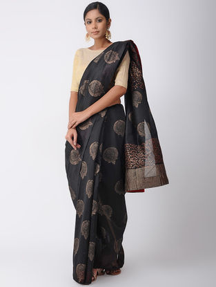 Black Hand-embroidered Silk Cotton Saree