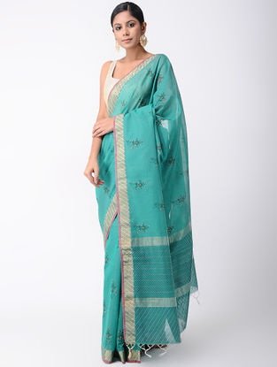 Green Block-printed Silk Cotton Saree with Zari and Hand Embroidery