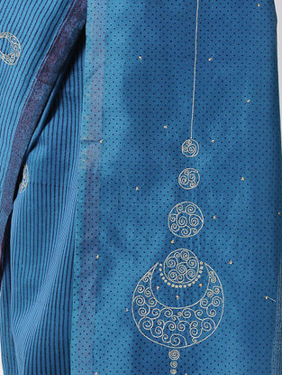 Blue Block-printed Silk Cotton Saree with Hand Embroidery