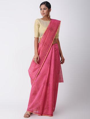 Pink Block-printed Silk Cotton Saree with Sequins-work