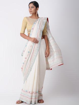 White Kantha-embroidered Cotton Saree with Gota-work