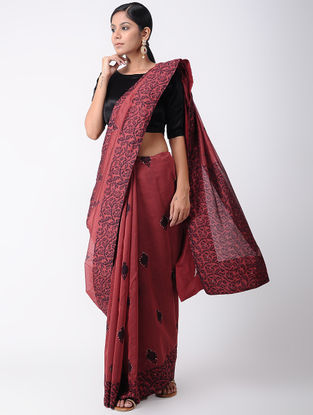 Red Block-printed Silk Cotton Saree with Sequins-work