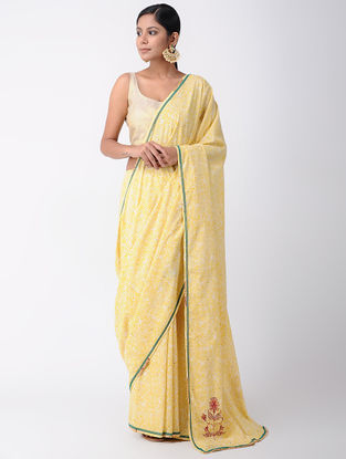 Orange Block-printed Cotton Saree with Hand Embroidery