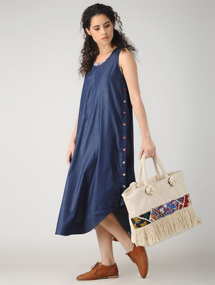 White-Multicolored Handcrafted Canvas Tote with Vintage Rabari Patchwork and Fringes