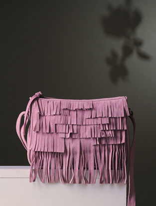 Pink Handcrafted Leather Sling Bag With Fringes