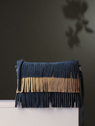 Tan-Blue Handcrafted Leather Sling Bag With Fringes