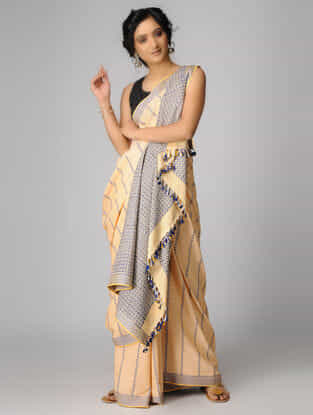 Yellow-Blue Cotton Saree with Tassels