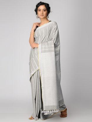 Grey-Ivory Cotton Saree with Tassels
