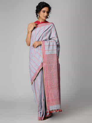 Grey-Pink Cotton Saree with Tassels (Set of 2)