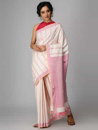 Ivory-Pink Cotton Saree with Tassels
