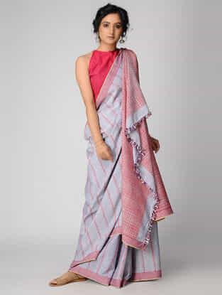 Grey-Pink Cotton Saree with Tassels