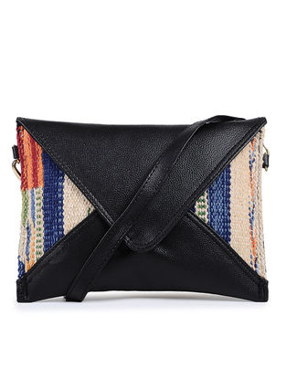 Black-Multicolor Cotton Kilim and Leather Sling Bag
