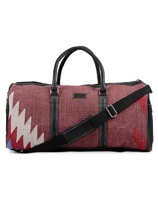 Black-Maroon Cotton Kilim and Leather Luggage Bag