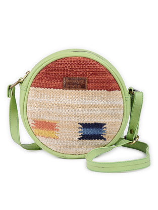 Green-Multicolor Cotton Kilim and Leather Round Sling Bag