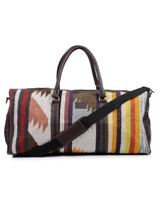 Black-Multicolor Cotton Kilim and Leather Luggage Bag