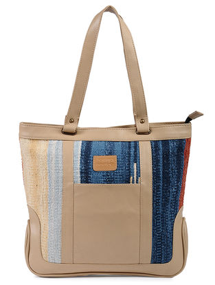 Beige-Multicolor Cotton Kilim and Leather Tote