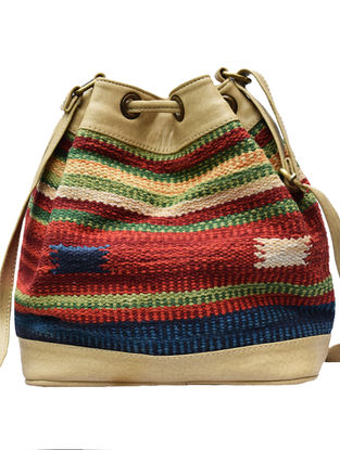 Yellow-Multicolored Handwoven Wool Kilim Bucket Bag