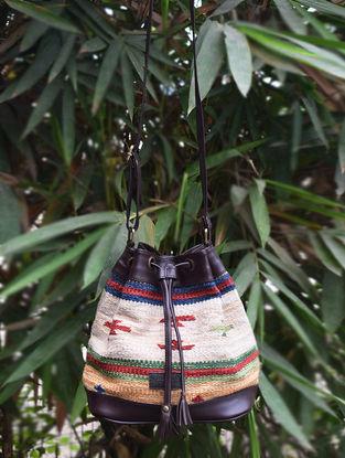 Brown-Multicolored Handwoven Wool Kilim Bucket Bag