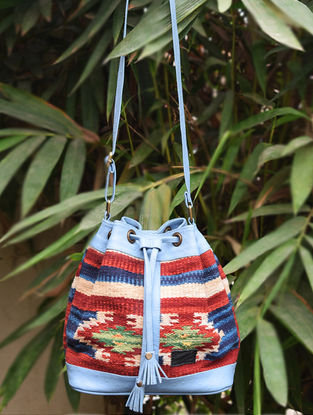 Blue-Multicolored Handwoven Wool Kilim Bucket Bag