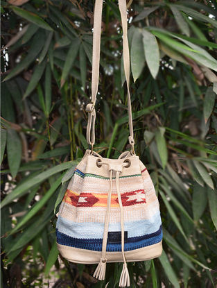 Multicolored Handwoven Wool Kilim Bucket Bag