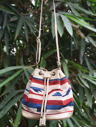 Beige-Multicolored Handwoven Wool Kilim Bucket Bag