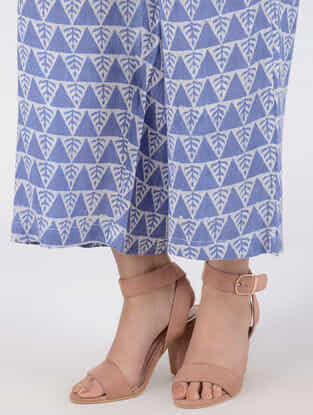 Blue Block-printed Elasticated Waist Cotton Slub Palazzos