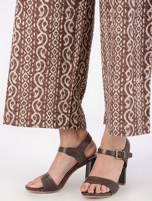 Brown Block-printed Elasticated Waist Cotton Slub Palazzos