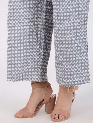Grey Block-printed Elasticated Waist Cotton Slub Palazzos